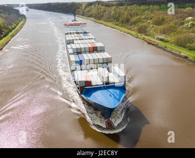 Albersdorf, Germany, April 15, 2017, Container ship 'WES AMELIE' in the North Sea Baltic Canal, in german - Stock Image