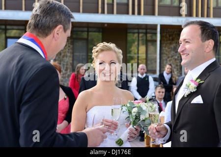 Wedding ceremony congratulations - Stock Image