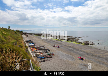 The beach and coast at Downderry, Cornwall, a small tourist village on the south coast - Stock Image