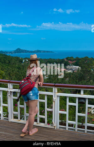 Girl standing on observation deck Lamai point in Samui island, Thailand - Stock Image