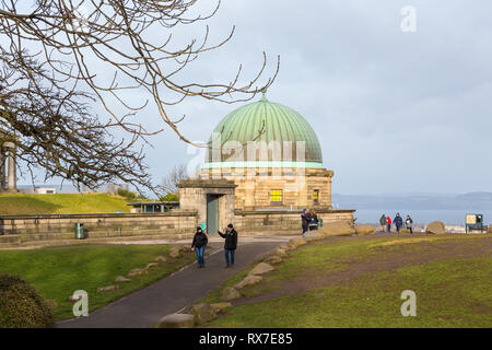 EDINBURGH, SCOTLAND - FEBRUARY 9, 2019 - Calton Hill is at the bottom of Princes Street. On the hilltop are several monuments - Stock Image