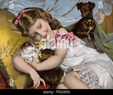 Advertisement for Scott's Emulsion - A young girl (in good health thanks to Scott's emulsion!) playing with her small pet dog and three adorable kittens... Scotts Emulsion is a supplement rich in cod liver oil.     Date: circa 1910s - Stock Image