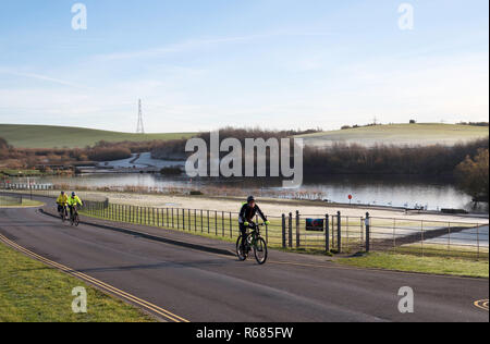 Herrington, Sunderland, UK. 4th December 2018. A group of cyclists ride through Herrington Country Park against a backdrop of frosted fields. Credit: Washington Imaging/Alamy Live News - Stock Image