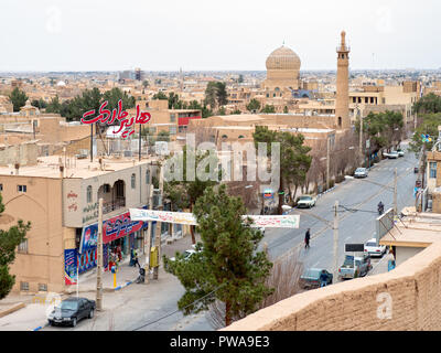 Top view of Meybod, a major desert city in Yazd Province, Iran - Stock Image