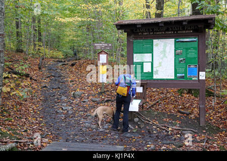Woman signing trail register, Camel's Hump, Huntington, VT, USA - Stock Image
