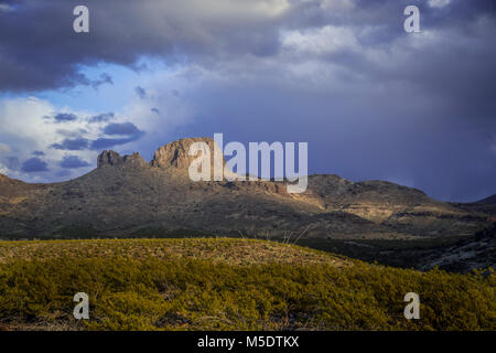 Desert Mountain With Light Shaft, Arizona, USA - Stock Image