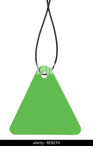 Blank Bright Green Cardboard Sale Tag And String, Empty Price Label Triangle Badge Background Vertical Hanging Isolated Macro Closeup Copy Space Large - Stock Image