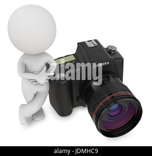 Dude 3D character the Photographer next to SLR Camera. Top view, 3d Render. - Stock Image