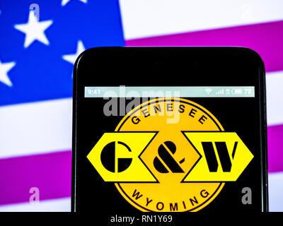 Ukraine. 16th Feb, 2019. Genesee & Wyoming Inc. logo seen displayed on a smart phone. Credit: Igor Golovniov/SOPA Images/ZUMA Wire/Alamy Live News - Stock Image