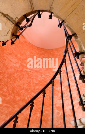 Antique spiral staircase in an old French mansion - Stock Image