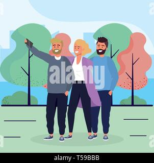 woman and men friends with smartphone and trees vector illustration - Stock Image