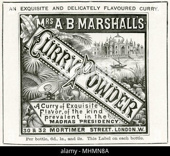 Mrs A. B Marshall's curry powder, from India.     Date: 1899 - Stock Image