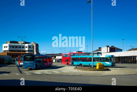 Buses owned by several operators waiting between trips at Middlesbrough Bus Station North Yorkshire - Stock Image