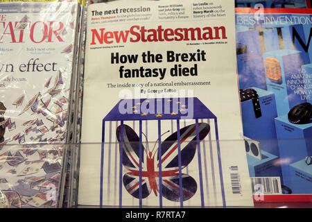 New Statesman 'How the Brexit fantasy died' front cover on a magazine shelf at a British newsagent shop in London England - Stock Image