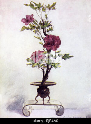An example of the traditional Japanese art of flower arranging know as Ikebana. - Stock Image