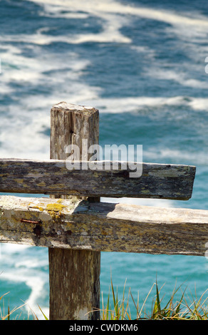 Mossy Fence Post - Stock Image