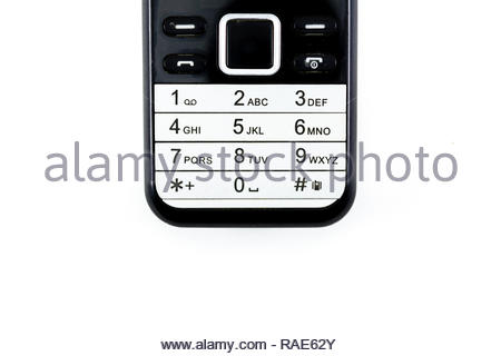 keypad and navigation key on old candy bar cell phone - Stock Image