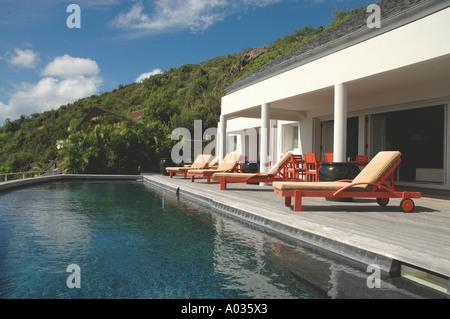 St Barths St Barts Luxury Villa Pool - Stock Image