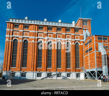 Lisbon, Portugal - Feb 25, 2019: Wide-angle view of the Tejo Power Station in Lisbon, Portugal, a former thermoelectric power plant - Stock Image
