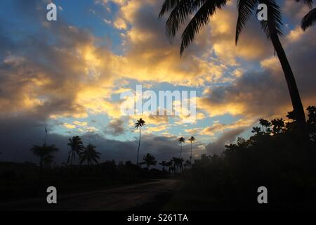 Sunset in Taveuni, Fiji - Stock Image