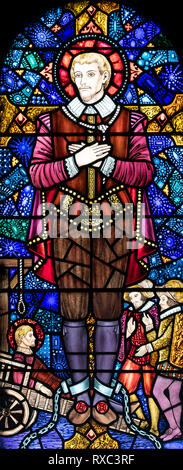 St. John Rigby, a Catholic martyr, who was executed in 1600, St. Oswald & St. Edmund Church, Ashton-in-Makerfield, Greater Manchester, UK - Stock Image