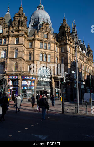 The Main entrance to Leeds City Markets at the junction of Vicar Lane and  Kirkgate in Leeds, U.K. - Stock Image