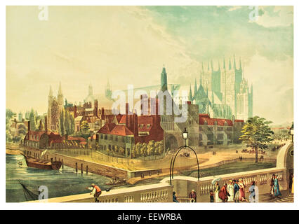 Westminster Hall & Abbey 1819 Palace River Thames Georgian Cathedral Church Houses of Parliament London - Stock Image