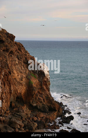 Rocky beach cliffs Point Dume state park California - Stock Image