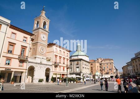 Buildings and architecture in  the main square of Piazza Tre Martiri, Rimini, Emilia-Romagna, Italy - Stock Image