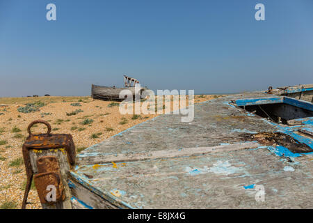 two abandoned fishing boats - Stock Image