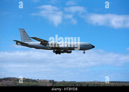 Turkish KC135R Stratotanker on exercise in UK on final approach to RAF Lossiemouth, Morayshire Scotland. - Stock Image