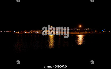night time reflections over water fuerteventura - Stock Image