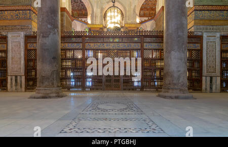 Interior view of the mausoleum of Sultan Qalawun, part of Sultan Qalawun Complex built in 1285 AD, located in Al Moez Street, Cairo, Egypt - Stock Image
