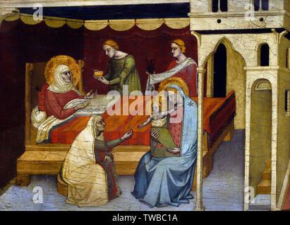 The Birth of the Saint John the Baptist  1340  by  Andrea di Nerio 1331-1387 t 1430 - Siena, 1497 Italian, Italy, - Stock Image
