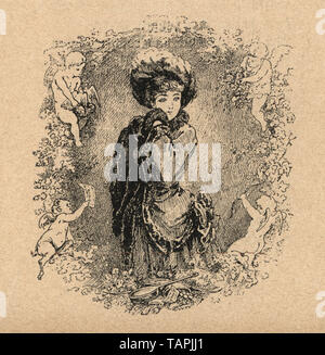 Vintage engraving of a young woman surrounded by cupids angels, 19th Century - Stock Image