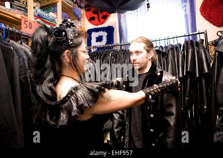 Looking for goth clothes at Whitby Goth Weekender. - Stock Image