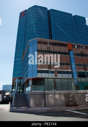 June 23, 2018- St. Johns, Newfoundland: The tall glass windowed structure of the Scotiabank building on the corner of Harbour Drive at Ayre's Cove - Stock Image