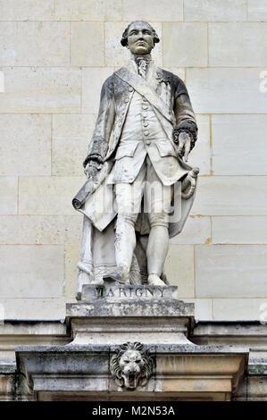 Paris, France. Palais du Louvre. Statue in the Cour Napoleon: Marquis de Marigny (Abel François Poisson de - Stock Image