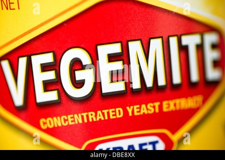Close-up of the label on a jar of Vegemite, a famous Australian spread made from concentrated yeast extract. Vegemite - Stock Image