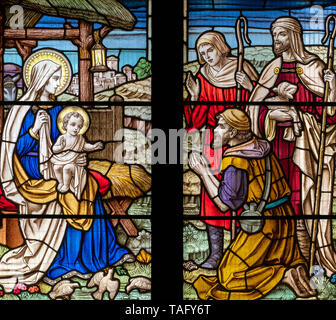 The Adoration of Jesus by C.E. Moore, St Thomas Church, Glaisdale, North York Moors, Yorkshire, UK - Stock Image