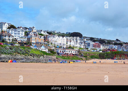 View of hotels, seafront apartments, and other buildings on Woolacombe Beach, Woolacombe Bay, Devon, UK - Stock Image