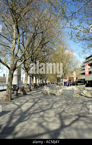 South Bank promenade and National Theatre London - Stock Image
