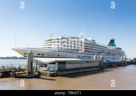 Cruise ship Artania moored at the cruise liner terminal adjacent to the River Mersey ferry landing stage, Liverpool. - Stock Image