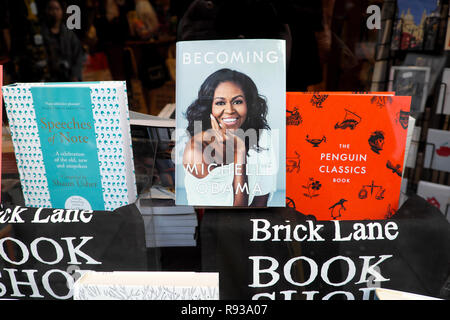 Michelle Obama book 'Becoming' on display with Penguin Classics and Speeches of Note in Brick Lane Book Shop window Shoreditch London  UK KATHY DEWITT - Stock Image