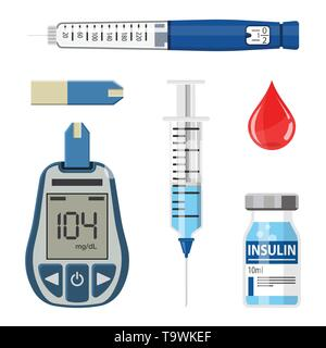 Control your Diabetes concept. Icons Set with blood glucose meter, insulin pen syringe. isolated vector illustration - Stock Image