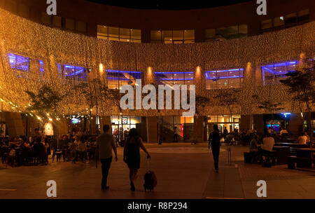 Christmas lights at the Esplanade and Harry's Bar area, Singapore, Asia - Stock Image