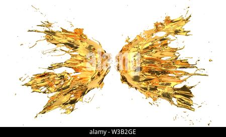 molten fluid splash on white background. suitable for fluid, color and paint themes. 3d illustration - Stock Image