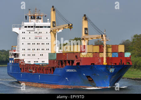 Containervessel Langeness passing the Kiel Canal. - Stock Image
