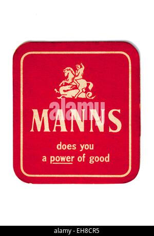 Vintage Beermat Advertising Manns Beer - Stock Image