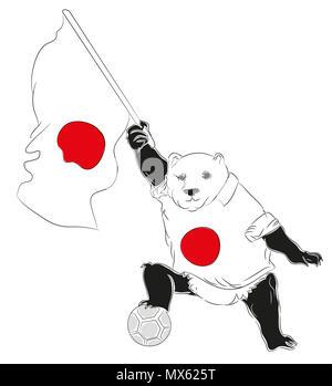 Soccer Mascot for Japan.  Japan panda mascot for football tournaments - Stock Image